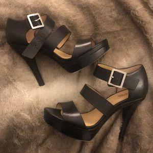 Michael Kors Black Thick Strap Platform Heels